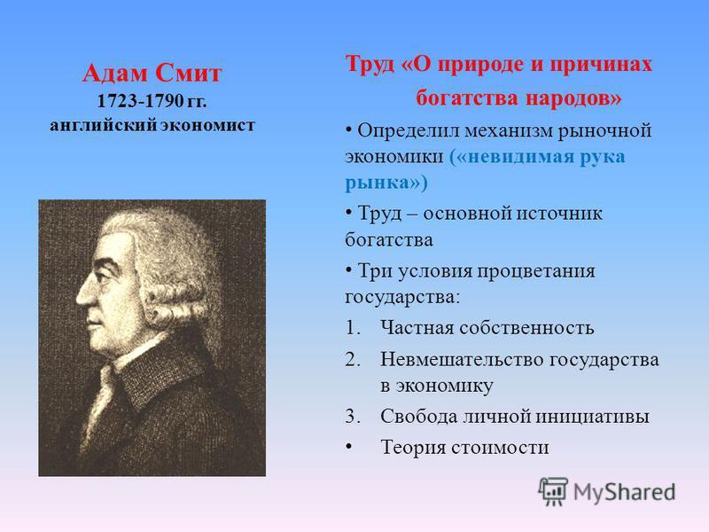 Адам Смит 1723-1790 гг. английский экономист Труд «О природе и причинах богатства народов» Определил механизм рыночной экономики («невидимая рука рынка») Труд – основной источник богатства Три условия процветания государства: 1. Частная собственность