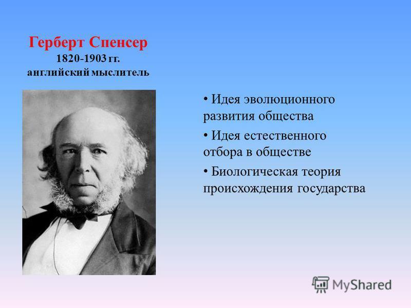 Герберт Спенсер 1820-1903 гг. английский мыслитель Идея эволюционного развития общества Идея естественного отбора в обществе Биологическая теория происхождения государства