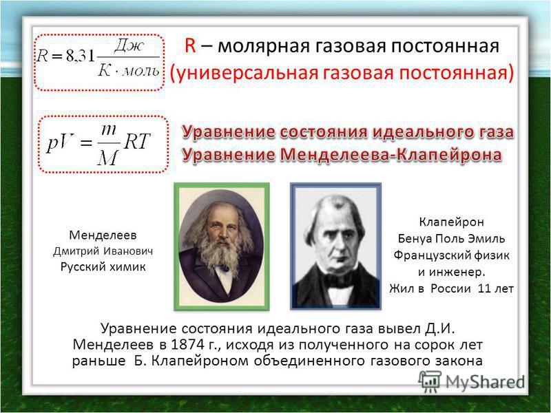 R – молярная газовая постоянная (универсальная газовая постоянная) Уравнение состояния идеального газа вывел Д.И. Менделеев в 1874 г., исходя из полученного на сорок лет раньше Б. Клапейроном объединенного газового закона Менделеев Дмитрий Иванович Р