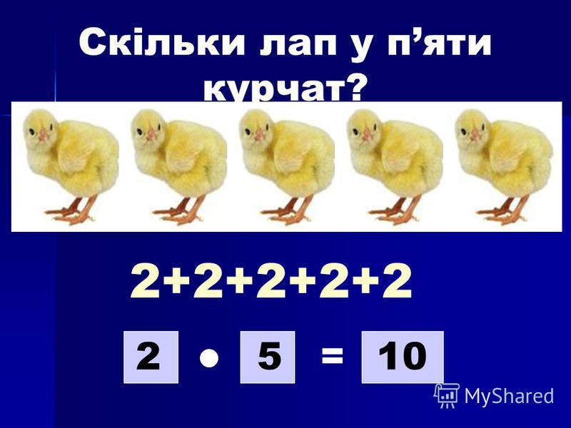 Скільки лап у пяти курчат? 2+2+2+2+2 2510=