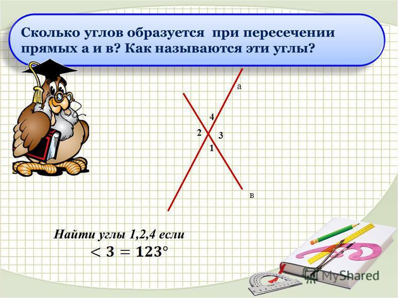 Сколько углов образуется при пересечении прямых а и в? Как называются эти углы? а в 3 1 2 4 Найти углы 1,2,4 если
