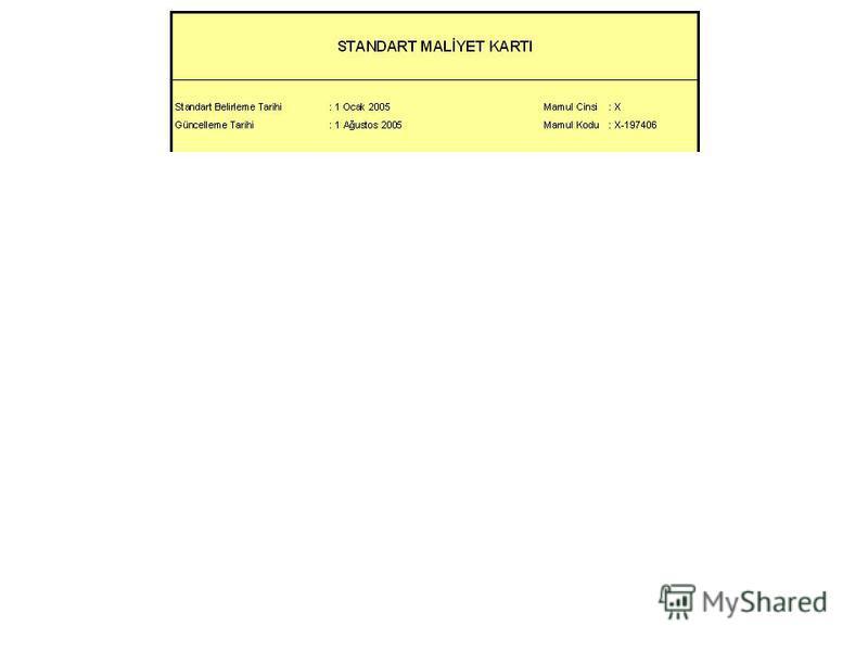 A malzemesin standart miktarı (1nolu EGMde) : 10,00 kg B malzemesin standart miktarı (2nolu EGMde) : 3,50 lt A malzemesin standart fiyatı : 1.82 YTL/kg B malzemesin standart fiyatı : 2.88 YTL/lt 010 nolu operasyon için standart süre: 1,70 DİS/br 020