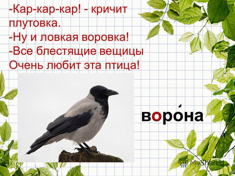 -Кар-кар-кар! - кричит плутовка. -Ну и ловкая воровка! -Все блестящие вещицы Очень любит эта птица!