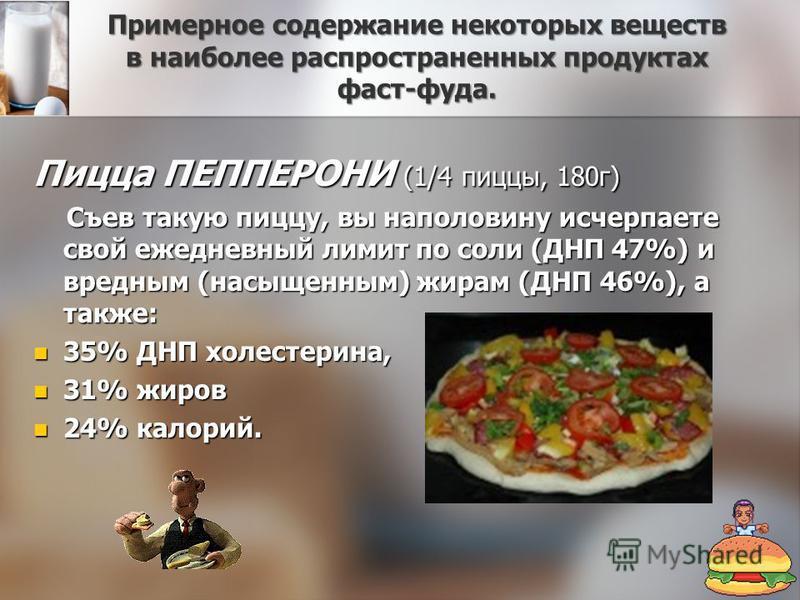 Примерное содержание некоторых веществ в наиболее распространенных продуктах фаст-фуда. Пицца ПЕППЕРОНИ (1/4 пиццы, 180 г) Съев такую пиццу, вы наполовину исчерпаете свой ежедневный лимит по соли (ДНП 47%) и вредным (насыщенным) жирам (ДНП 46%), а та