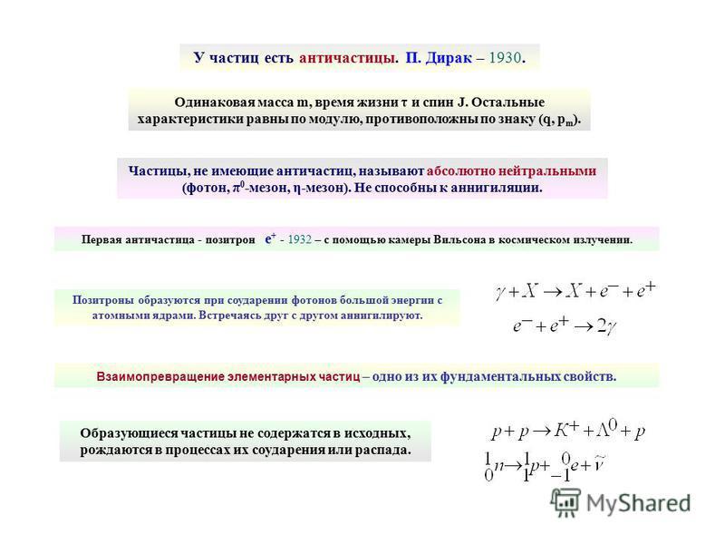 Первая античастица - позитрон е + - 1932 – с помощью камеры Вильсона в космическом излучении. Одинаковая масса m, время жизни τ и спин J. Остальные характеристики равны по модулю, противоположны по знаку (q, p m ). Позитроны образуются при соударении