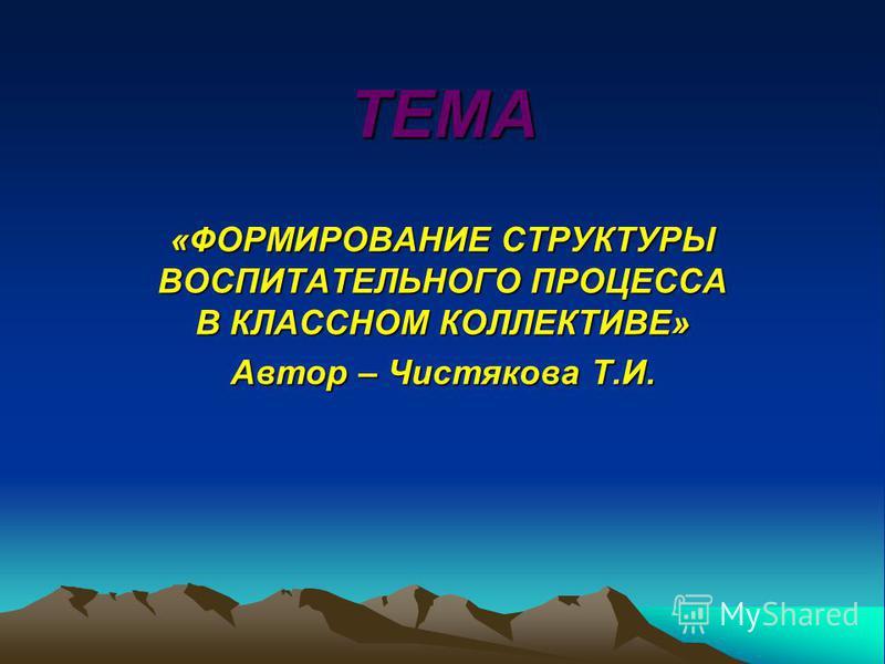 ТЕМА «ФОРМИРОВАНИЕ СТРУКТУРЫ ВОСПИТАТЕЛЬНОГО ПРОЦЕССА В КЛАССНОМ КОЛЛЕКТИВЕ» Автор – Чистякова Т.И.