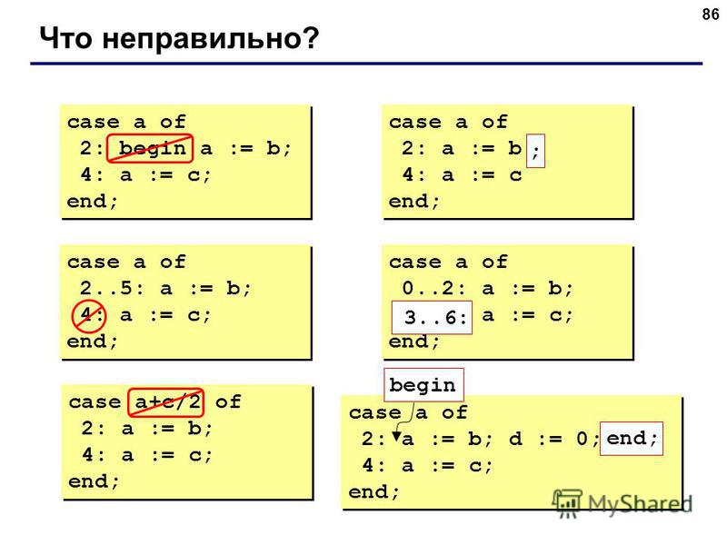 86 Что неправильно? case a of 2: begin a := b; 4: a := c; end; case a of 2: begin a := b; 4: a := c; end; case a of 2: a := b 4: a := c end; case a of 2: a := b 4: a := c end; ; case a of 2..5: a := b; 4: a := c; end; case a of 2..5: a := b; 4: a :=
