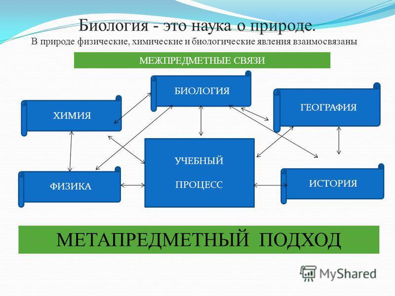 Биология - это наука о природе. В природе физические, химические и биологические явления взаимосвязаны. УЧЕБНЫЙ ПРОЦЕСС ФИЗИКА ГЕОГРАФИЯ ХИМИЯ ИСТОРИЯ МЕЖПРЕДМЕТНЫЕ СВЯЗИ МЕТАПРЕДМЕТНЫЙ ПОДХОД БИОЛОГИЯ