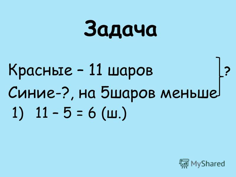 Задача Красные – 11 шаров ? Синие-?, на 5 шаров меньше 1)11 – 5 = 6 (ш.)