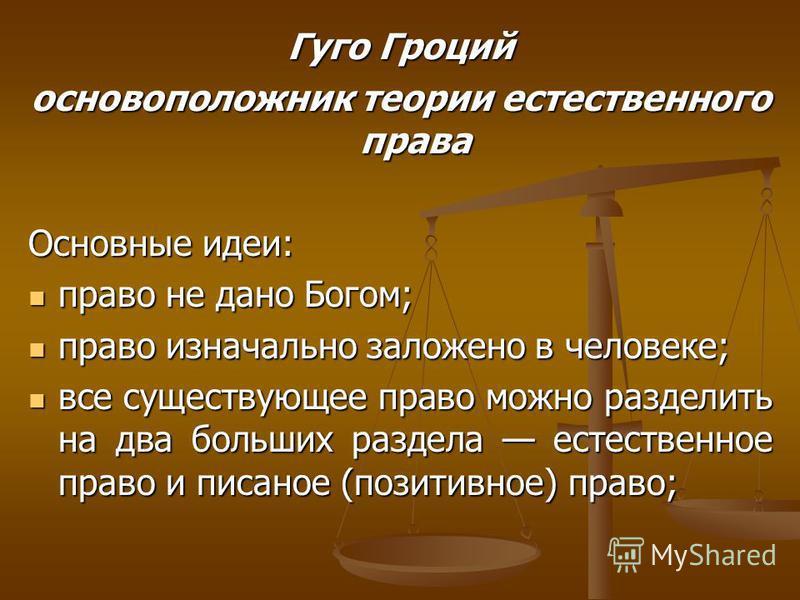 Гуго Гроций основоположник теории естественного права Основные идеи: право не дано Богом; право не дано Богом; право изначально заложено в человеке; право изначально заложено в человеке; все существующее право можно разделить на два больших раздела е