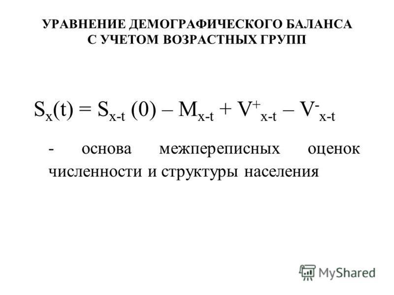 УРАВНЕНИЕ ДЕМОГРАФИЧЕСКОГО БАЛАНСА С УЧЕТОМ ВОЗРАСТНЫХ ГРУПП S х (t) = S х-t (0) – M х-t + V + х-t – V - х-t - основа межпереписных оценок численности и структуры населения