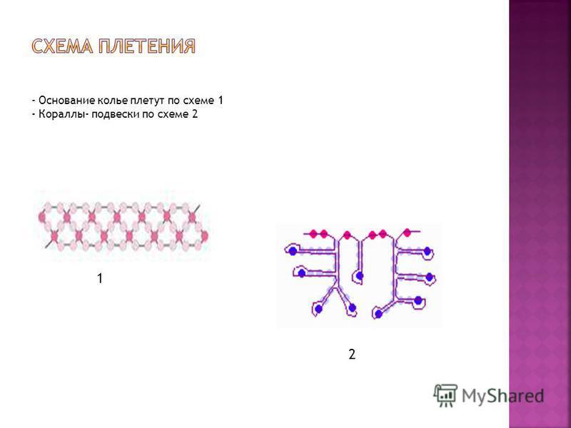 - Основание колье плетут по схеме 1 - Кораллы- подвески по схеме 2 1 2