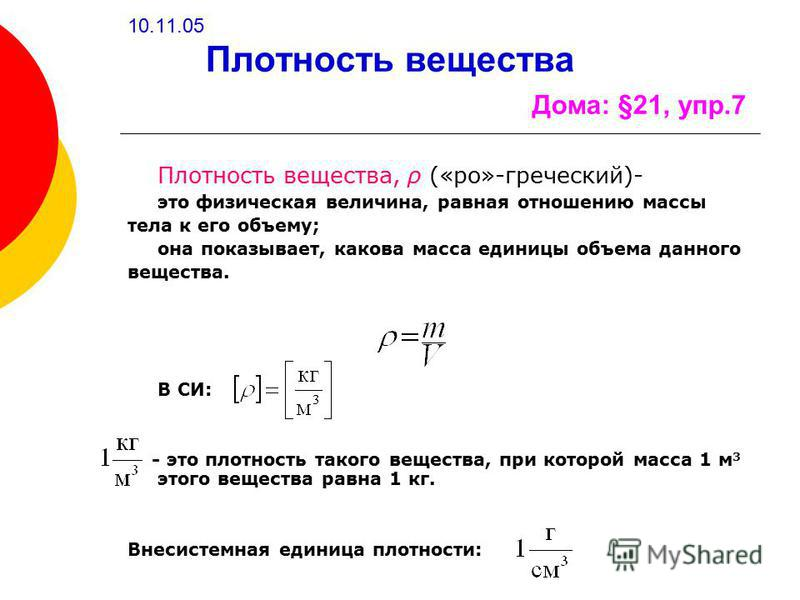 10.11.05 Плотность вещества Дома: §21, упр.7 Плотность вещества, ρ («ро»-греческий)- это физическая величина, равная отношению массы тела к его объему; она показывает, какова масса единицы объема данного вещества. В СИ: - это плотность такого веществ