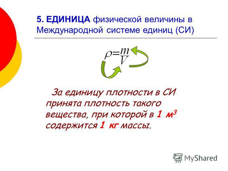 5. ЕДИНИЦА физической величины в Международной системе единиц (СИ) За единицу плотности в СИ принята плотность такого вещества, при которой в 1 м 3 содержится 1 кг массы.