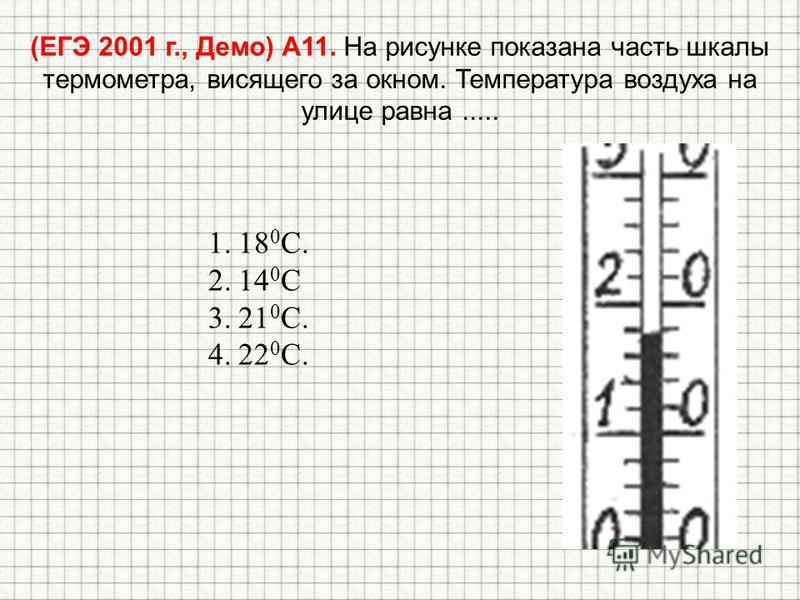 (ЕГЭ 2001 г., Демо) А11. На рисунке показана часть шкалы термометра, висящего за окном. Температура воздуха на улице равна..... 1.18 0 С. 2.14 0 С 3.21 0 С. 4.22 0 С.