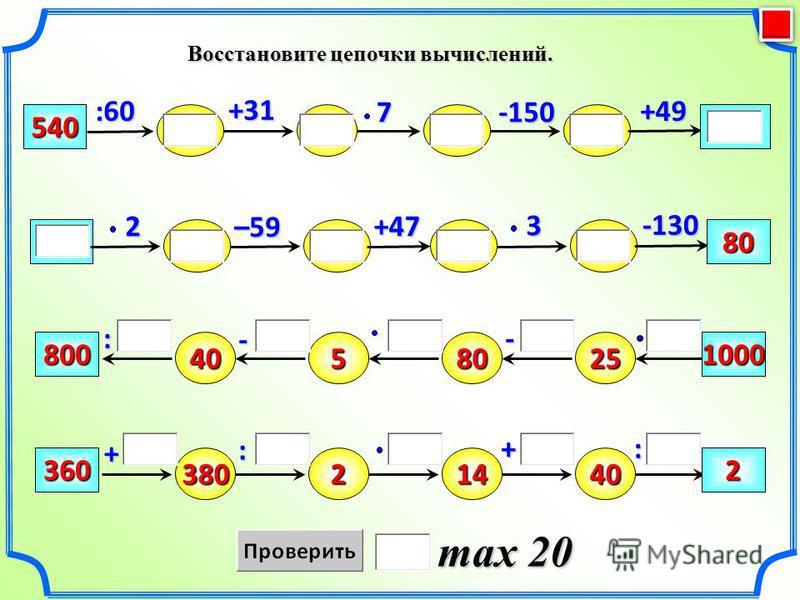 Восстановите цепочки вычислений. max 20 –59 540 +49 -150 +31 80 +47 -1302:60 + 40 : - 800580251000 380360214402 - : +7 3:
