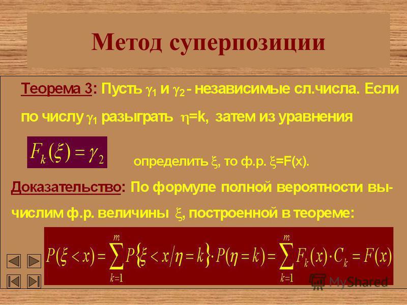 Метод суперпозиции C k >0 P( =k)=C k