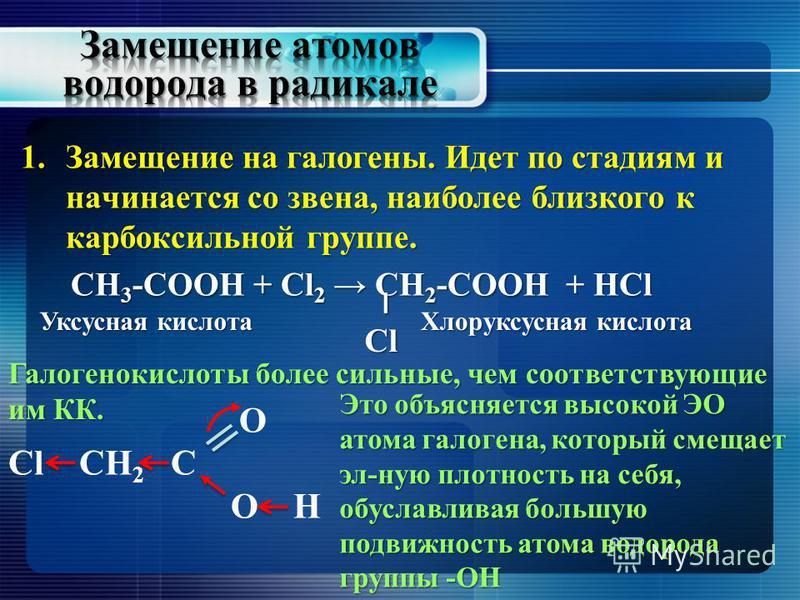 1. Замещение на галогены. Идет по стадиям и начинается со звена, наиболее близкого к карбоксильной группе. СН 3 -СООН + Cl 2 СН 2 -СООН + HCl СН 3 -СООН + Cl 2 СН 2 -СООН + HCl ׀Cl Уксусная кислота Хлоруксусная кислота O Сl СН 2 C О H Это объясняется