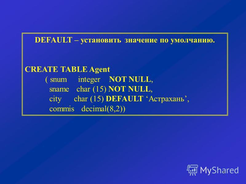 6 DEFAULT – установить значение по умолчанию. CREATE TABLE Agent ( snum integer NOT NULL, sname char (15) NOT NULL, city char (15) DEFAULT Астрахань, commis decimal(8,2))