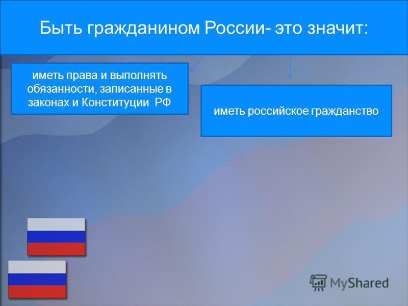 Быть гражданином России- это значит: иметь российское гражданство иметь права и выполнять обязанности, записанные в законах и Конституции РФ