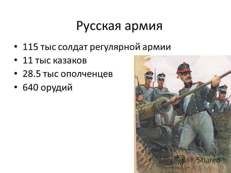 115 тыс солдат регулярной армии 11 тыс казаков 28.5 тыс ополченцев 640 орудий Русская армия