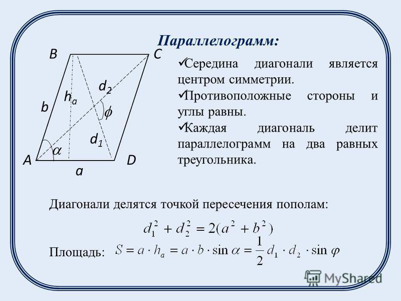 Диагонали делятся точкой пересечения пополам: Площадь: d1d1 d2d2 A BC D a b haha Параллелограмм: Середина диагонали является центром симметрии. Противоположные стороны и углы равны. Каждая диагональ делит параллелограмм на два равных треугольника.