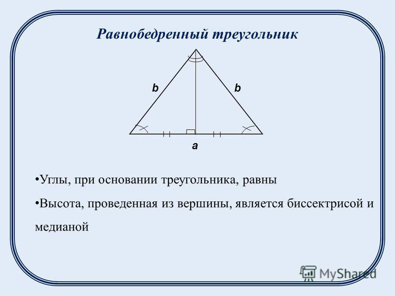 Равнобедренный треугольник a bb Углы, при основании треугольника, равны Высота, проведенная из вершины, является биссектрисой и медианой