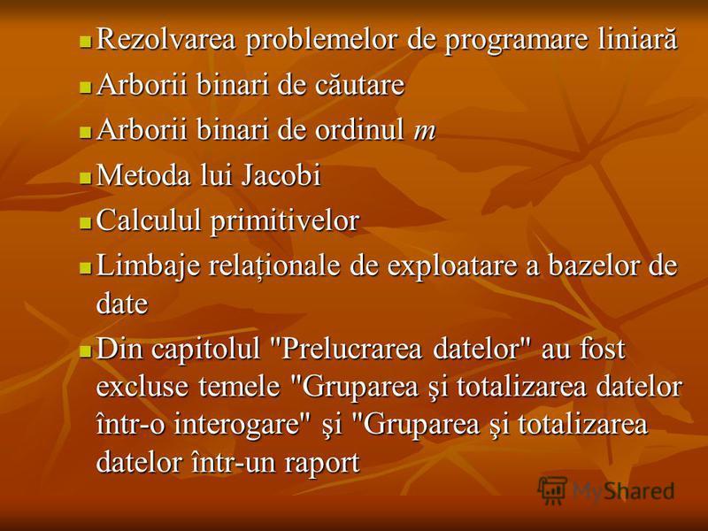 Rezolvarea problemelor de programare liniară Rezolvarea problemelor de programare liniară Arborii binari de căutare Arborii binari de căutare Arborii binari de ordinul m Arborii binari de ordinul m Metoda lui Jacobi Metoda lui Jacobi Calculul primiti