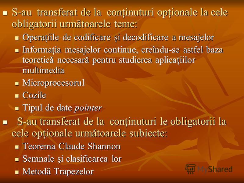 semnale opționale pentru)