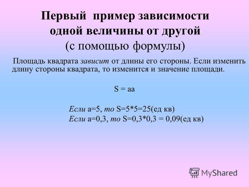 Первый пример зависимости одной величины от другой (с помощью формулы) Площадь квадрата зависит от длины его стороны. Если изменить длину стороны квадрата, то изменится и значение площади. S = aa Если а=5, то S=5*5=25(ед кв) Если а=0,3, то S=0,3*0,3