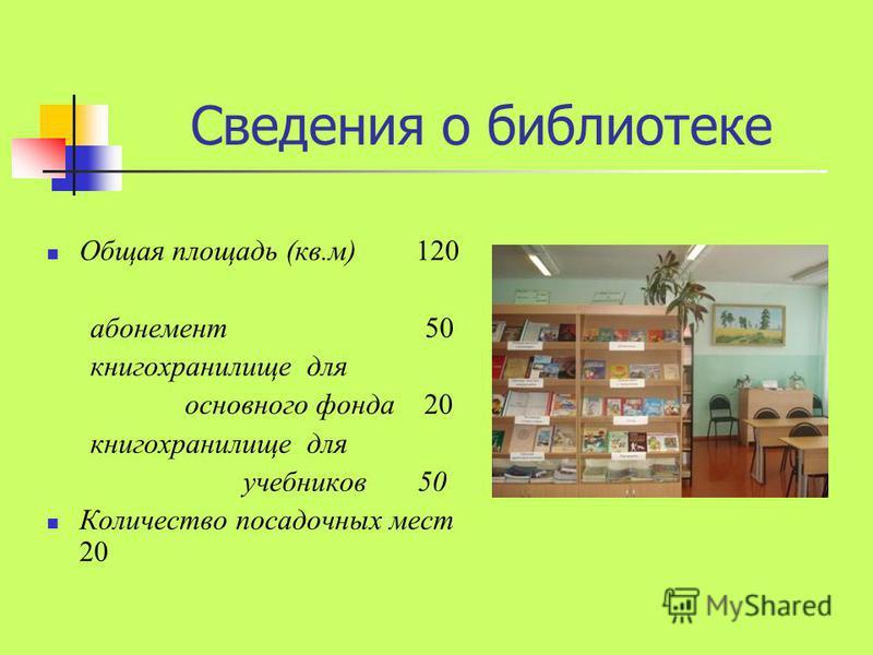 Сведения о библиотеке Общая площадь (кв.м) 120 абонемент 50 книгохранилище для основного фонда 20 книгохранилище для учебников 50 Количество посадочных мест 20