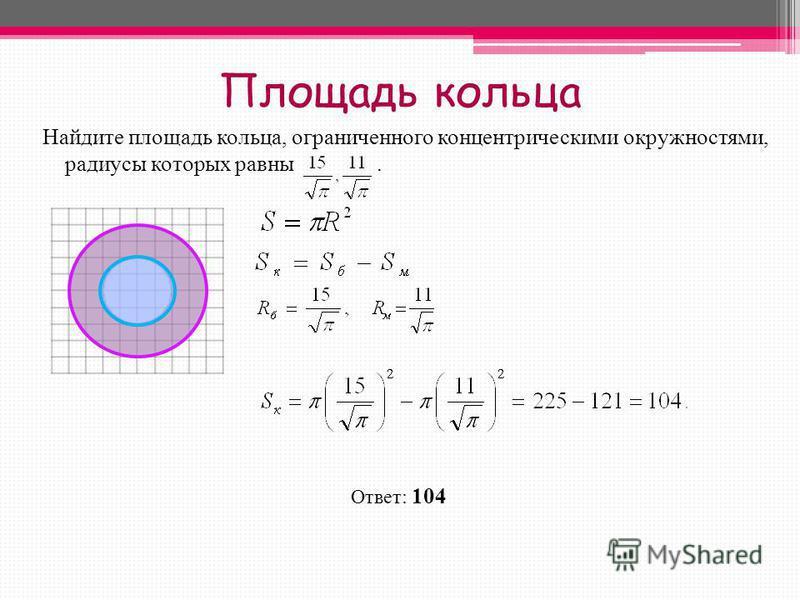 Площадь кольца Найдите площадь кольца, ограниченного концентрическими окружностями, радиусы которых равны. Ответ: 104