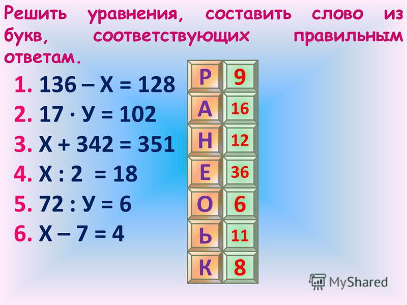 Решить уравнения, составить слово из букв, соответствующих правильным ответам. 1. 136 – Х = 128 2. 17 · У = 102 3. Х + 342 = 351 4. Х : 2 = 18 5. 72 : У = 6 6. Х – 7 = 4 Р А Н К Е О Ь 9 16 12 36 6 11 8