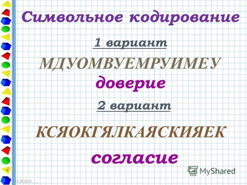 Символьное кодирование 1 вариант МДУОМВУЕМРУИМЕУ доверие 2 вариант КСЯОКГЯЛКАЯСКИЯЕК согласие 11.08.2015