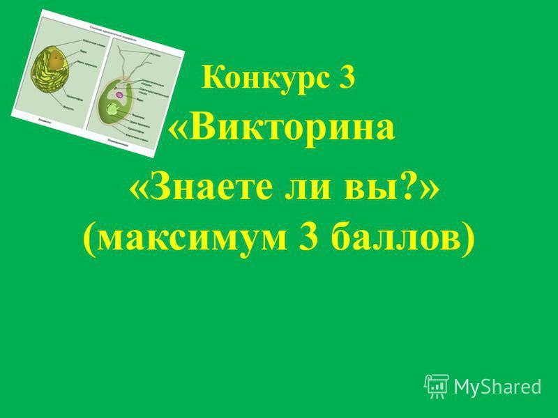 Конкурс 3 «Викторина «Знаете ли вы?» (максимум 3 баллов)