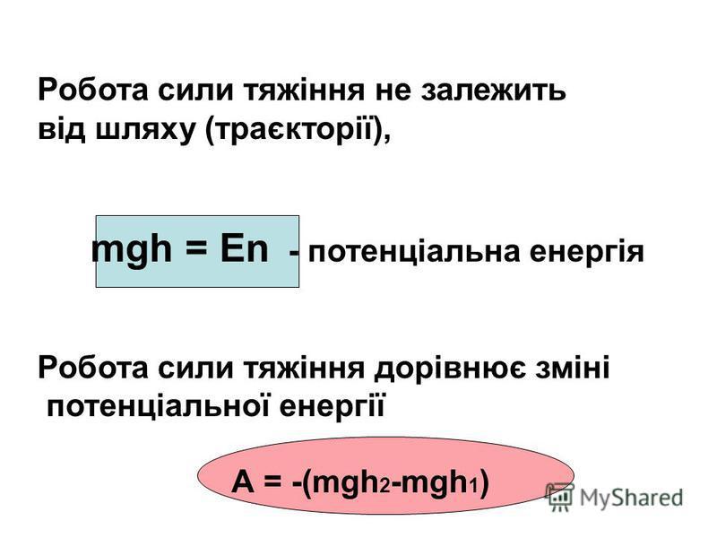 Робота сили тяжіння не залежить від шляху (траєкторії), mgh = En - потенціальна енергія Робота сили тяжіння дорівнює зміні потенціальної енергії А = -(mgh 2 -mgh 1 )
