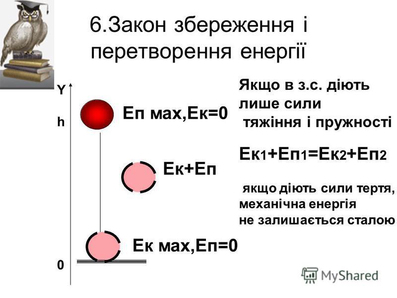 6.Закон збереження і перетворення енергії Yh0Yh0 Еп мах,Ек=0 Ек мах,Еп=0 Ек+Еп Якщо в з.с. діють лише сили тяжіння і пружності Ек 1 +Еп 1 =Ек 2 +Еп 2 якщо діють сили тертя, механічна енергія не залишається сталою