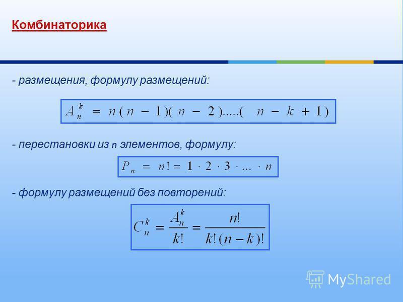 Комбинаторика - размещения, формулу размещений : - перестановки из n элементов, формулу : - формулу размещений без повторений :