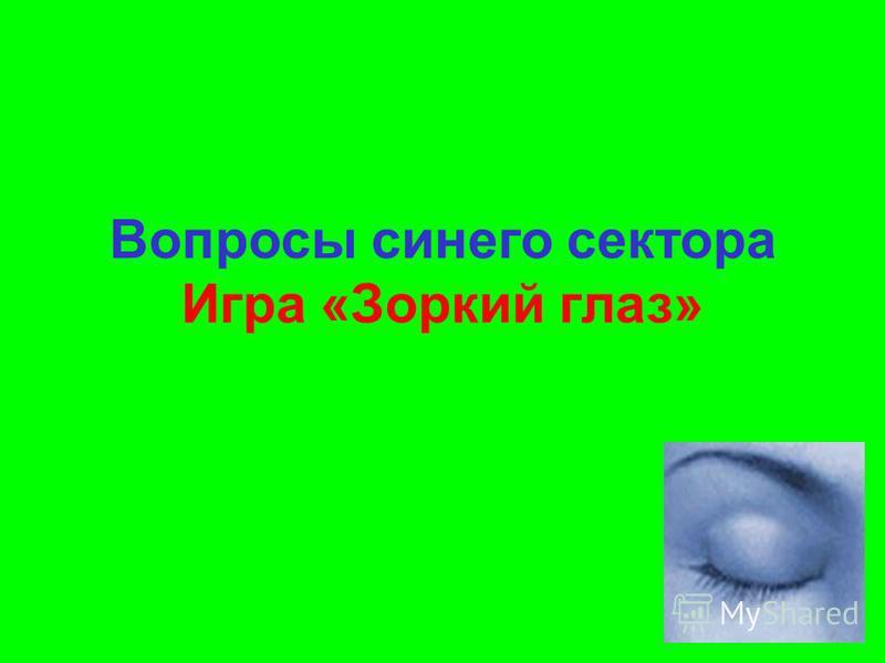 Вопросы синего сектора Игра «Зоркий глаз»