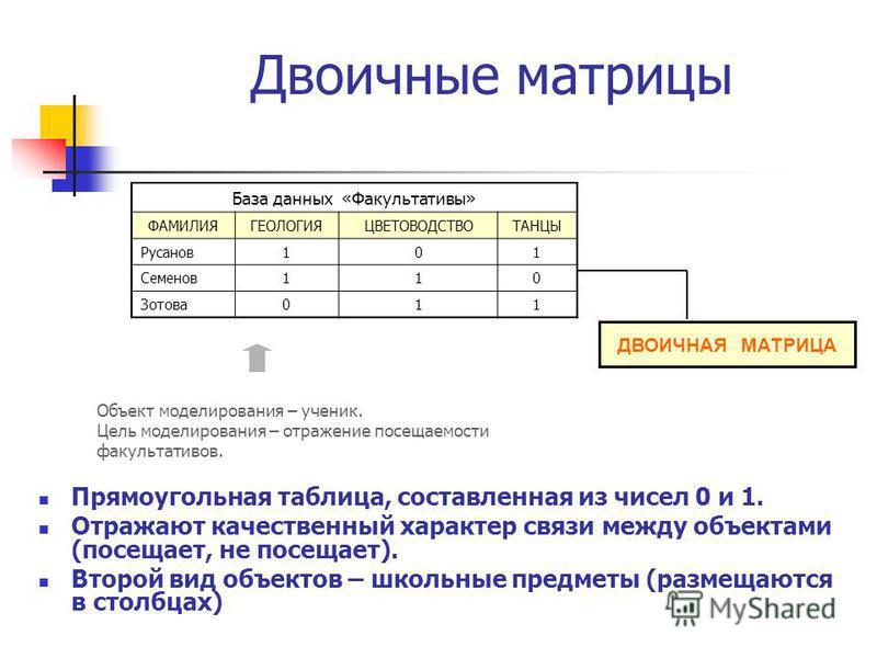 Двоичные матрицы Прямоугольная таблица, составленная из чисел 0 и 1. Отражают качественный характер связи между объектами (посещает, не посещает). Второй вид объектов – школьные предметы (размещаются в столбцах) Объект моделирования – ученик. Цель мо