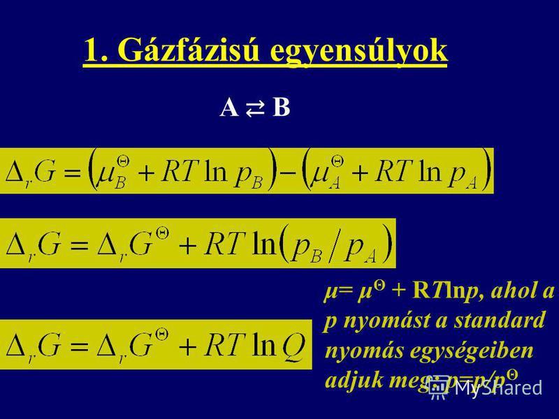 A B μ= μ Θ + RTlnp, ahol a p nyomást a standard nyomás egységeiben adjuk meg: p=p/p Θ 1. Gázfázisú egyensúlyok