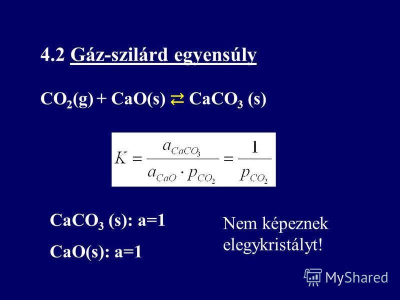 4.2 Gáz-szilárd egyensúly CO 2 (g) + CaO(s) CaCO 3 (s) CaCO 3 (s): a=1 CaO(s): a=1 Nem képeznek elegykristályt!