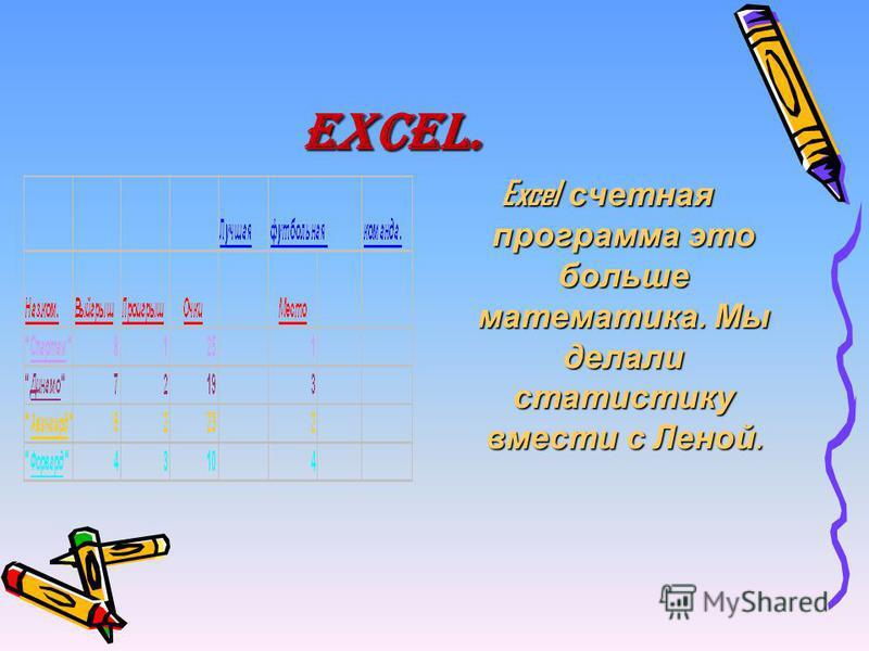 Excel. Excel счетная программа это больше математика. Мы делали статистику вмести с Леной.