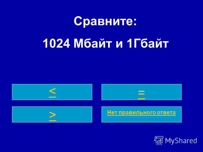 Сравните: 1024 Мбайт и 1Гбайт < = > Нет правильного ответа