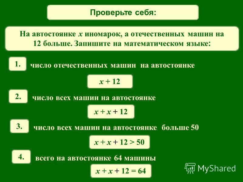 Математический диктант На автостоянке x иномарок, а отечественных машин на 12 больше. Запишите на математическом языке : 1. число отечественных машин на автостоянке 2. число всех машин на автостоянке x + 12 x + x + 12 3. число всех машин на автостоян