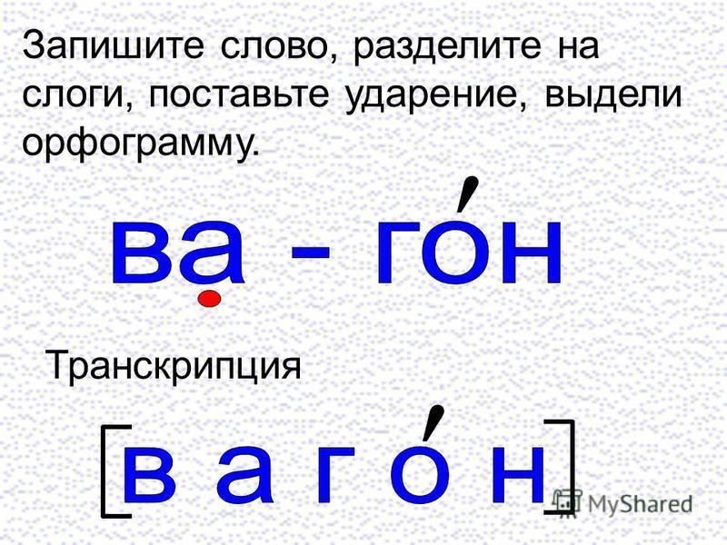 Запишите слово, разделите на слоги, поставьте ударение, выдели орфограмму. Транскрипция