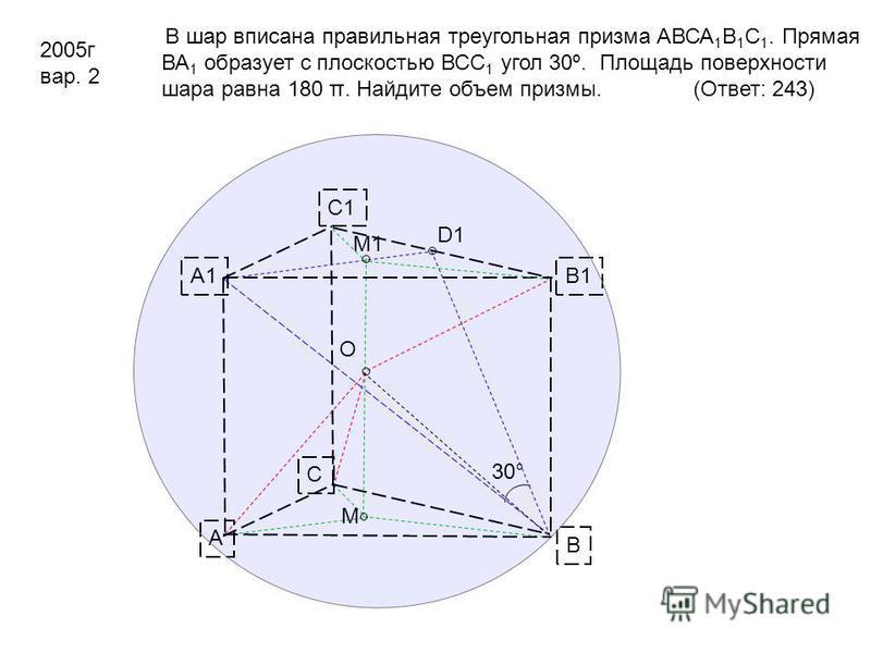 D1 A B C B1 C1 A1 M1 M O 30° В шар вписана правильная треугольная призма АВСА 1 В 1 С 1. Прямая ВА 1 образует с плоскостью ВСС 1 угол 30º. Площадь поверхности шара равна 180 π. Найдите объем призмы. (Ответ: 243) 2005 г вар. 2