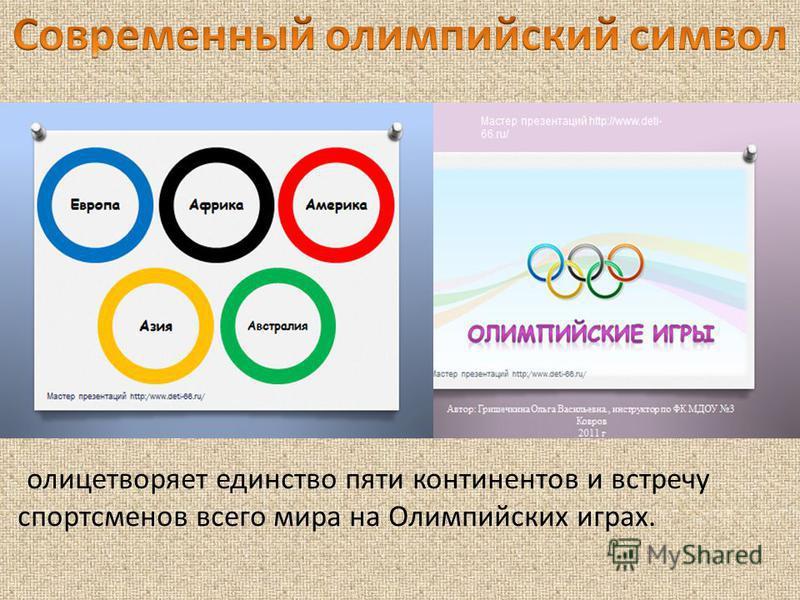 олицетворяет единство пяти континентов и встречу спортсменов всего мира на Олимпийских играх.