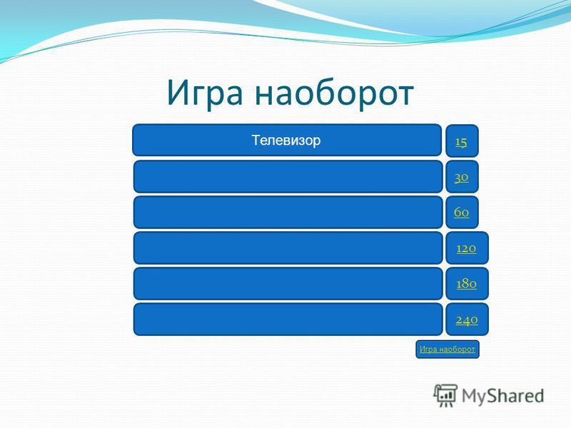 Игра наоборот 15 30 60 120 180 240 Телевизор Игра наоборот