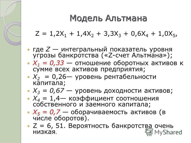 Модель Альтмана Z = 1,2X 1 + 1,4X 2 + 3,3X 3 + 0,6X 4 + 1,0X 5, где Z интегральный показатель уровня угрозы банкротства («Z-счет Альтмана»); X 1 = 0,33 отношение оборотных активов к сумме всех активов предприятия; X 2 = 0,26 уровень рентабельности ка